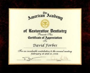 Certificate Appreciation American Academy Restorative Dentistry 2005