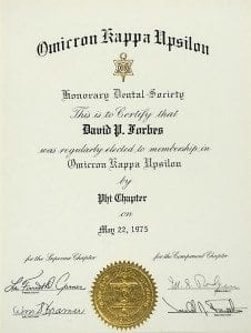 Omicron Kappa Upsilon Honorary Scholastic Dental Society